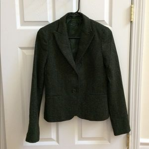 Theory petite wool blazer dark green XS